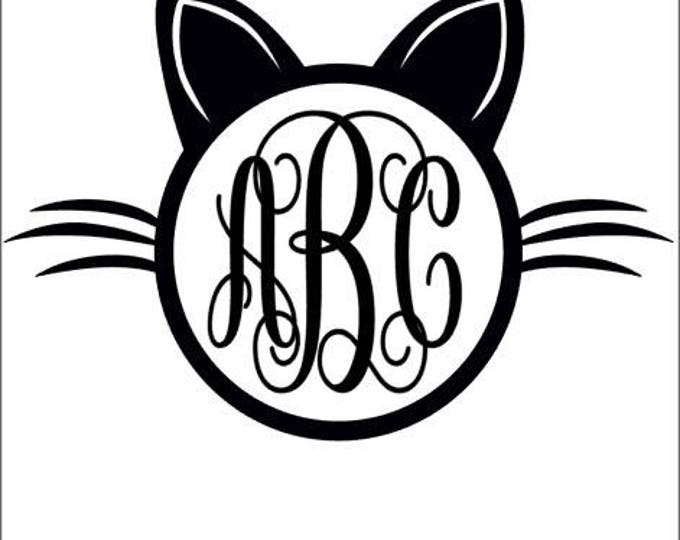 Cat Monogram vinyl decal car tumbler cup decal personalized Script Frame Customized