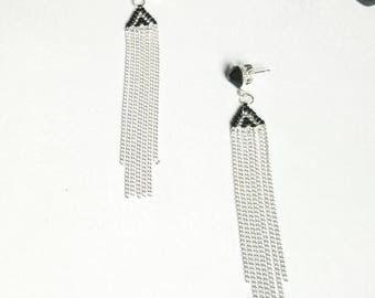 PYRAMID beads miyuki and swarovski rhinestone earrings