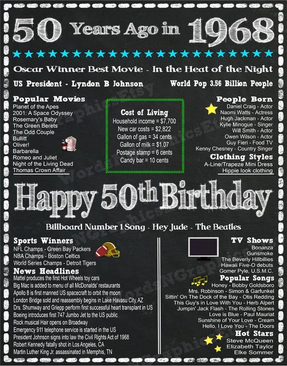 Fun Facts For 1968 Birthdays Happy 50th Birthday Chalkboard