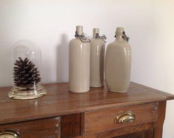 Vintage enameled stoneware bottle - Vintage bottle France - French Vintage bottle - Country decoration - Shabby decoration