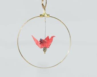 Red origami cranes in 5 cm gold hoop earrings