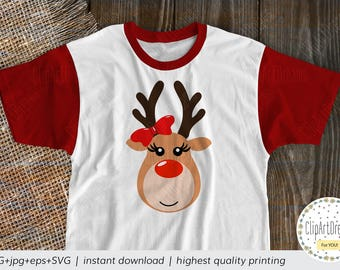 Reindeer SVG, Reindeer Head with Bow Svg Face Antlers Red nose Nosed Rudolph Girl svg Cutting File cut files for Cricut Silhouette DXF PNG
