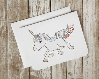 Rainbow Heart Farting Unicorn - Greeting Card - birthday - anyday - friends - Valentine - Romance - animal - fantasy - funny - humor - fun