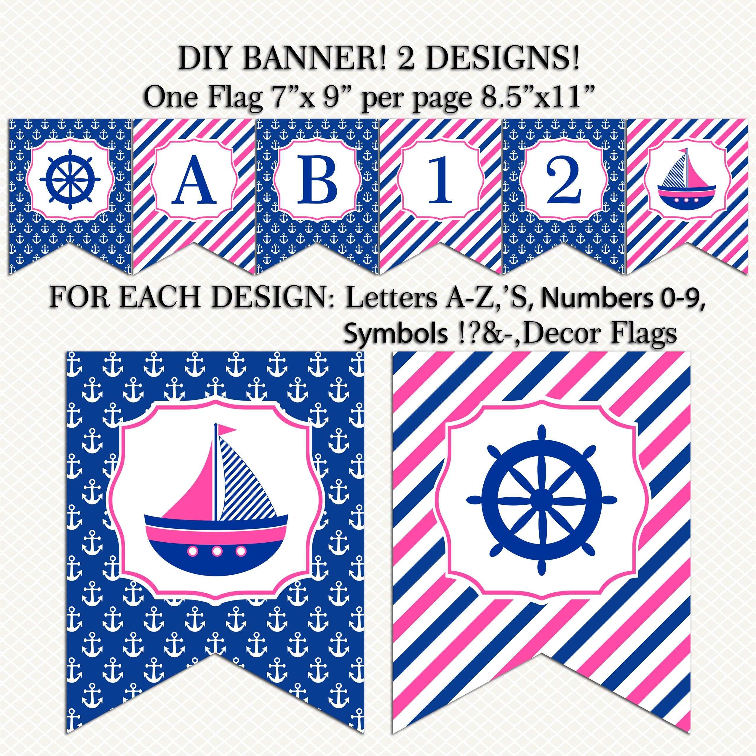 Nautical banner printable navy pink girl nautical party birthday navy pink girl nautical party birthday baby shower banner diy banner buycottarizona Gallery
