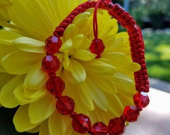2018 Red Happiness Star Crystal Bracelet - adj. for Ox and Rabbit