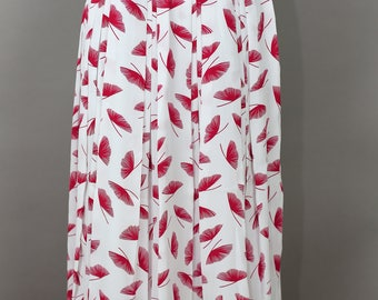 80s ARES RED floral print pleated skirt size xs/s