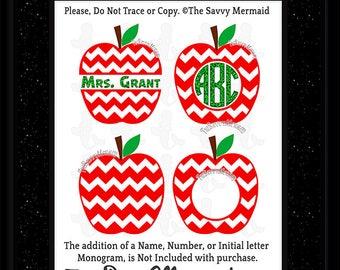 Teacher SVG file- Monogram School SVG cut file- Back to School Svg- Chevron Split Apple Monogram SVG- Cricut Teacher- Dxf Silhouette Iron on