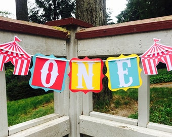 Circus Highchair Banner, Circus Birthday, One Highchair Banner, First Birthday, High Chair Banner, Photo Prop, Circus Tent Decorations