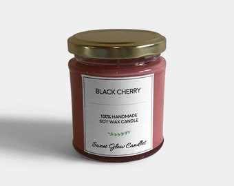 Black cherry candle, cherry scented, soy wax candle, jar candle, cherry, cherry candle, handmade, gift, vegan, 6.5oz, home decor