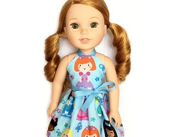 Halter Dress, Princess, Orange Hair, Blue, White, Pink, Orange, Yellow, 14.5, Fits dolls such as AG, Wellie Wishers, 14 inch Doll Clothes
