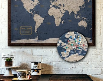 Travel map etsy push pin map personalized travel map executive style 13x19 pin board gumiabroncs Images