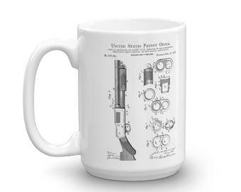 Browning Shotgun Patent Mug 1897 - Old Patent Mug, Shotgun Mug, Shotgun Patent, Firearm Mug, Vintage Firearm, Browning Patent, Browning Mug