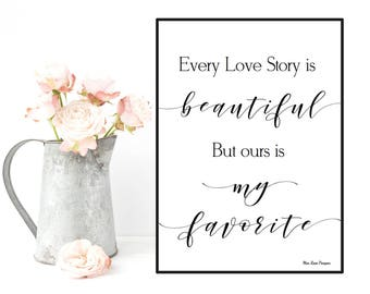 Boyfriend Christmas gift, Girlfriend Christmas gift, Our love story is beautiful quote, Love quote poster, Wall decor, Positive quote wall