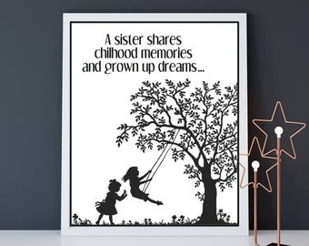 Sister gift Christmas, Sister poster, Christmas gift for my sister, Sister birthday, Sister my best friend, Love poster, Love quote poster