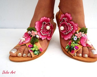 Roses sandals , Handmade sandals ,  leather sandals, Boho sandals, Women's Shoes,  luxury shoes from Delos Art