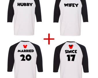 Hubby and Wifey couples UNISEX baseball tee, Minnie and Mickey unisex baseball tees, Disney inspired, Valentine's day shirt, matching shirts