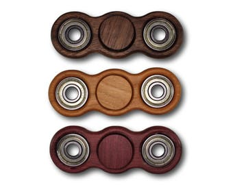 Fidget Spinner *FREE SHIPPING* Dual Spinner EDC Spinner Solid Hardwood Bones Reds Bearing Walnut Cherry Purpleheart