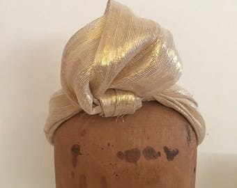 Fascinator - Natural & Gold Lurex Turban