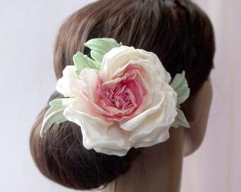 Flower from fabric, rose brooch, clip flower, flower for hair, wedding accessory, Wedding Fascinator, Bridal Hair Clip, Flower Hair Clip