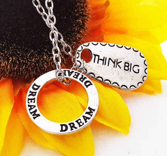Dream Washer Charm Necklace, Think BIG Sports Fitness Jewelry, Courage Strength, Inspirational Word Charms, Athlete Team Motivational Gifts