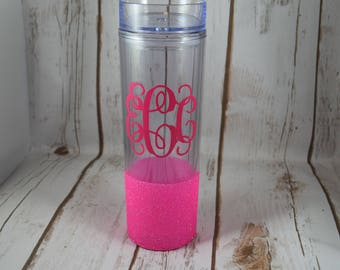 Monogrammed Tumbler, Skinny Tumbler, Monogram Gift, Monogrammed, Personalized Water Tumbler, Glitter Tumbler, Glitter Dipped, Monogrammed