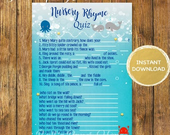 Baby Shower Whale Nursery Rhyme Quiz -Digital Instant Download-Under The Sea- Nursery Rhyme Quiz-Printable Whale Games-Baby Shower Games