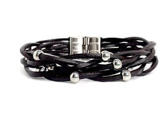 Black and Brown Genuine Leather Men's Bracelet Stainless Steel beads. Gift box included - Italian jewellery for men. Birthday gifts for men