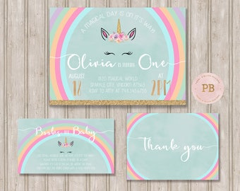 Unicorn Birthday Invitation, Unicorn First Birthday Invitation, Unicorn Baby Shower Invitation, Books for baby card, Thank you Card