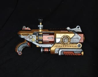 Large Steampunk Gun Nerf Blaster Prop Weapon Post Apocalyptic Cosplay Costume Ideas Nikola Tesla Light Bulb Gear Valentines Day Gift for Him