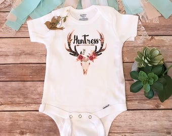 Unique Baby Gift, Huntress Onesie®, Antler Baby, Boho Baby Clothes, Baby Girl Clothes, Cute Baby Clothes, Bohemian Baby Bodysuit, Skull