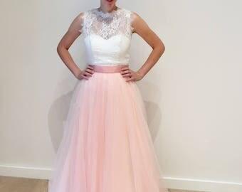 Pink Blush Romantic Lace Boho A Line Wedding Dress