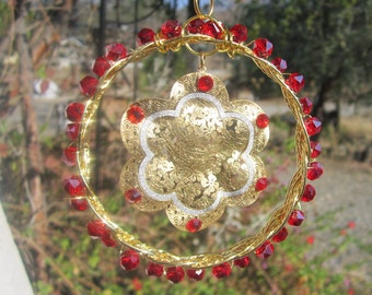Gold and Red Sun Catcher- #0161
