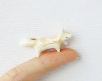 Miniature Fox Totem - Porcelain Fox Totem, Fox Figurine, Miniature Ceramic Animal, Terrarium Figurine, Ceramic Figurine, Animal Figurine