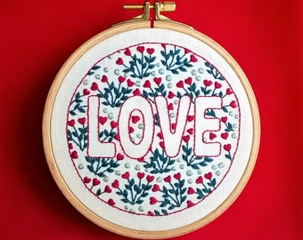 Embroidery kit - Embroidery pattern - embroidery hoop art - Love - valentine's design - embroidery kit beginner