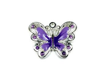 5 Purple Butterfly Charms, Large Enamel Butterfly Charm, 34.5mm Silver Butterfly Charms, Rhinestone Butterfly Charms, Jewelry Making, C1374