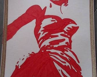 drawing red and white Marylin monroe