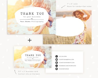 Thank You Note Cards Template for Photographers, Thank You Card, 7x5 Thank You Card, Photography Thank You Card Template, Business Card