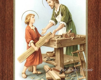 """Saint Joseph the Worker  - 7"""" x 9"""" Unframed Vintage Catholic Print Picture from Italy"""