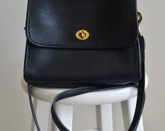 Vintage Leather Coach Bag / Black Crossbody Coach Purse