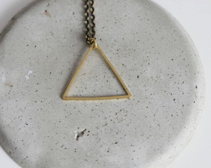 Geometric Triangle Brass Pendant and Faceted Brass Chain Necklace | Minimalist | Gift