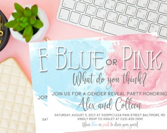 Watercolor Blue or Pink Gender Reveal Invitation, Blue or Pink Gender Reveal Invitation, Gender Reveal Party Invite, Gender Reveal, Digital