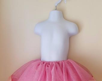 Pink Tutu skirt , Ribbon trimmed Tutu Skirt,Baby sparkle Tutu Skirt, Birthday Tutu Skirt,Baby Skirts, Glitter tutu skirt