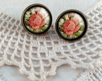 Red Rose Stud Earrings