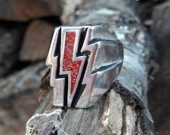 Vintage 1986 Red Coral G&S Lightening Bolt Biker Ring - Size 11