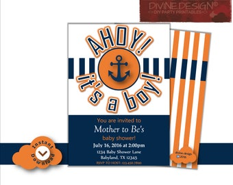 Ahoy It's a Boy! Editable DIY Printable Invitation with Decorative Back
