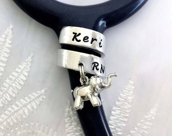 Stethoscope Name Tag, Elephant Stethoscope ID, Elephant Stethoscope ID Ring, Nurse Gift, Doctor Gift, Personalized Stethoscope Name Ring,