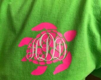 """Shortsleeve """"TURTLE MONOGRAM"""" T-SHIRT/Unisex T-Shirt/Multiple Colors/Pre-shrunk Cotton/"""