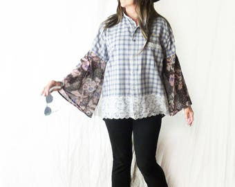 Plus size plaid shirt, bell sleeves, blue, Boho top, country chic, sheer back, boyfriend shirt, Upcycled, lace trim, oversize