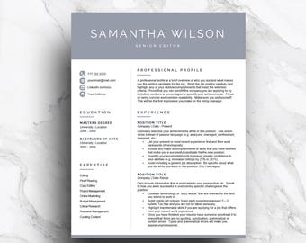 Creative resume template for Word & Pages (1, 2 and 3 page resume, cover letter, icon set) CV Template, modern resume | Instant Download