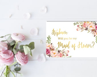 Gold Personalized Boho Printable Will You Be My Maid of Honor Card, Boho Floral Maid of Honor Card Custom Floral Peonies Card Download 110-G